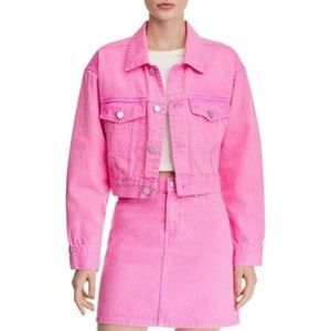BLANKNYC Pink Cropped Denim Jacket